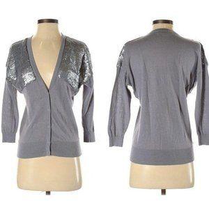 Ann Taylor Loft Linen Sequin Cardigan Sweater S